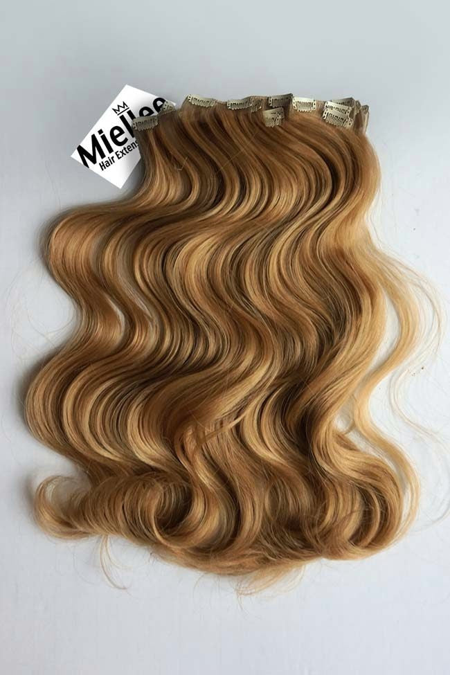 Honey Blonde Full Head Clip Ins | Beach Wave Remy Human Hair
