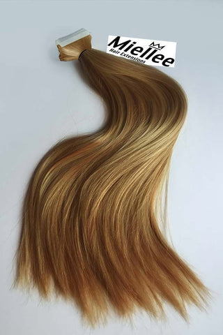 Medium Golden Blonde Balayage Full Head Clip Ins | Beach Wave Remy Human Hair