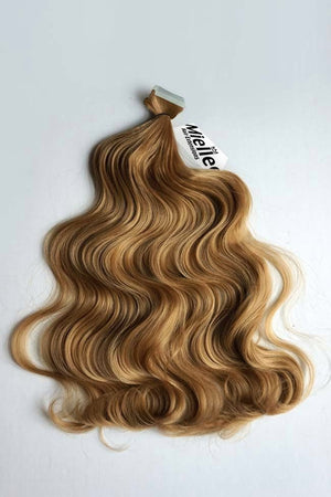 Honey Blonde Tape Ins - Beach Wave - Remy Human Hair