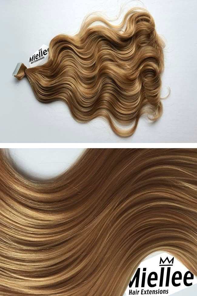Honey Blonde Seamless Tape Ins | Beach Wave Remy Human Hair