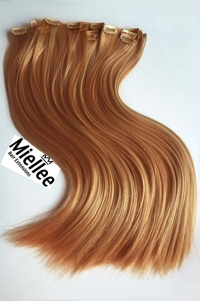 Strawberry Blonde Clip In Extensions Silky Straight Remy Human