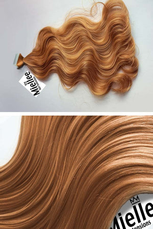 Strawberry Blonde Tape Ins - Beach Wave - Remy Human Hair