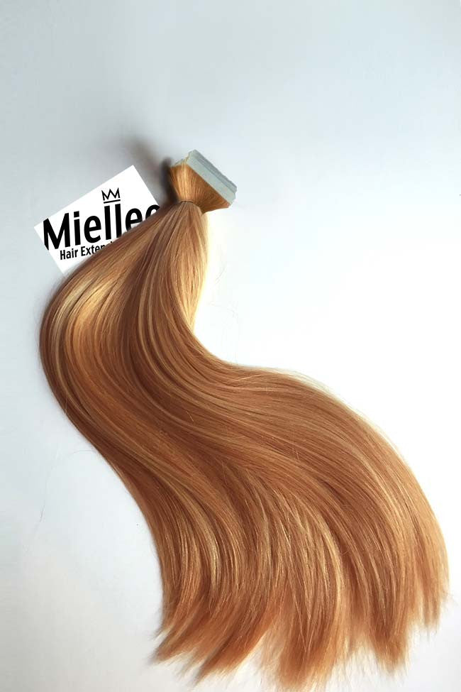 Strawberry Blonde Tape In Extensions Straight Remy Human Hair