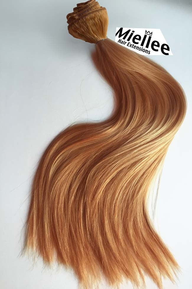 Weaving Hair Extensions Dark Strawberry Blonde Silky Straight