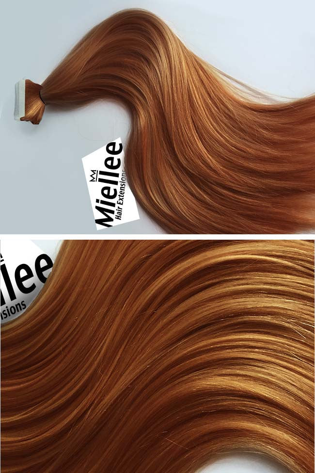 Toffee Red Seamless Tape Ins | Silky Straight Remy Human Hair