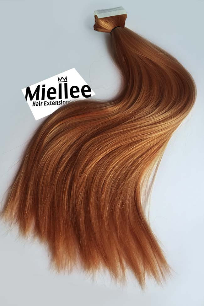 Toffee Red Tape Ins - Silky Straight - Remy Human Hair