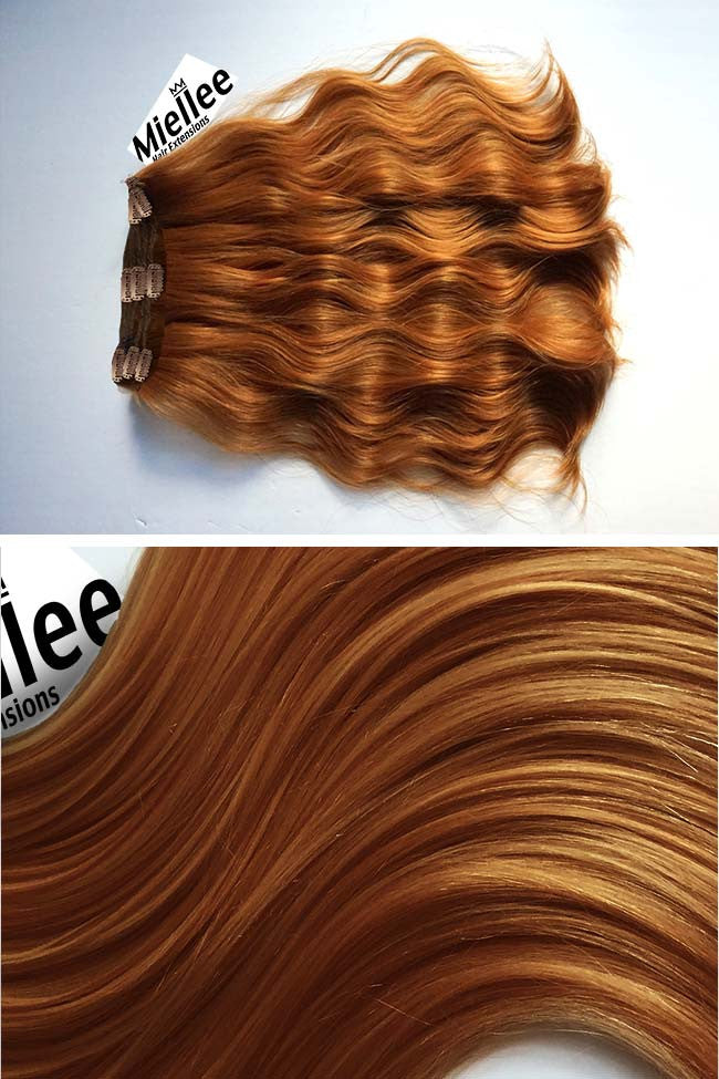 Toffee Red Full Head Clip Ins | Beach Wave Remy Human Hair