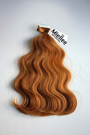 Toffee Red Tape Ins - Beach Wave - Remy Human Hair