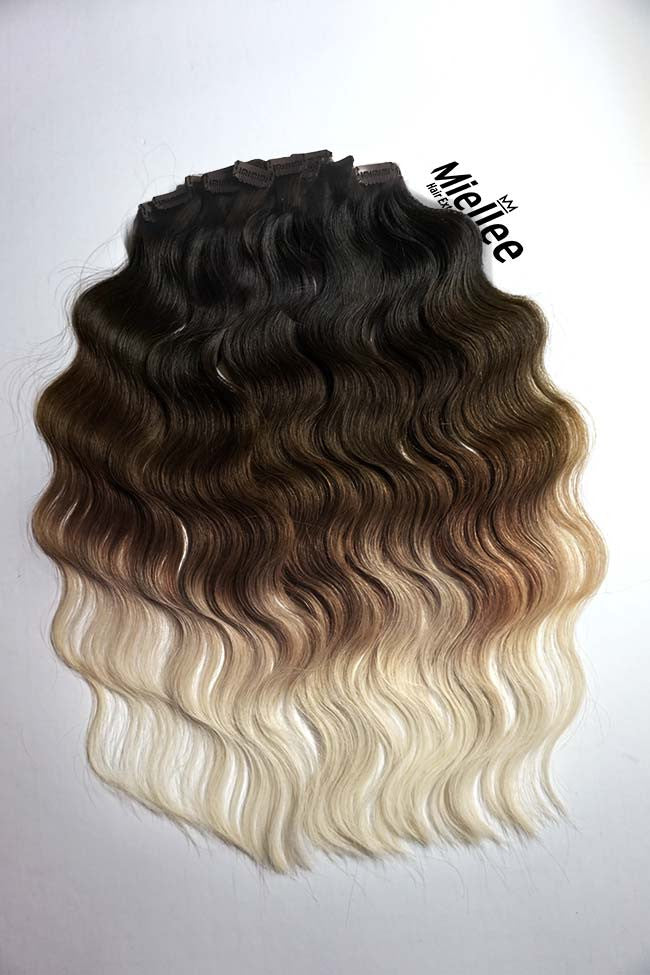High Contrast Neutral Ombre Clip In Extensions Beach Wave Remy