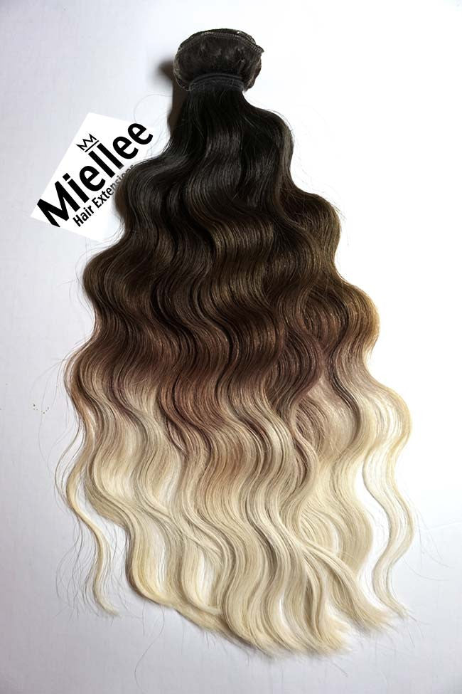High Contrast Neutral Ombre Weave - Beach Wave - Remy Human Hair