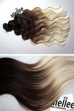 High Contrast Neutral Ombre Machine Tied Wefts - Wavy Hair
