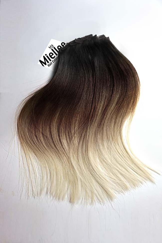 High Contrast Neutral Ombre Clip Ins - Silky Straight - Remy Human Hair