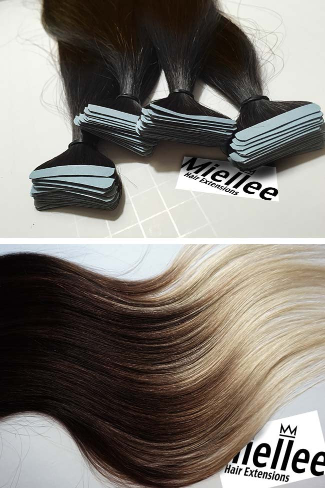 High Contrast Neutral Ombre Seamless Tape Ins | Silky Straight Remy Human Hair