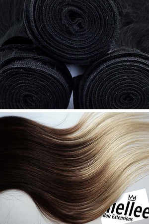 High Contrast Neutral Ombre Weave - Silky Straight - Remy Human Hair