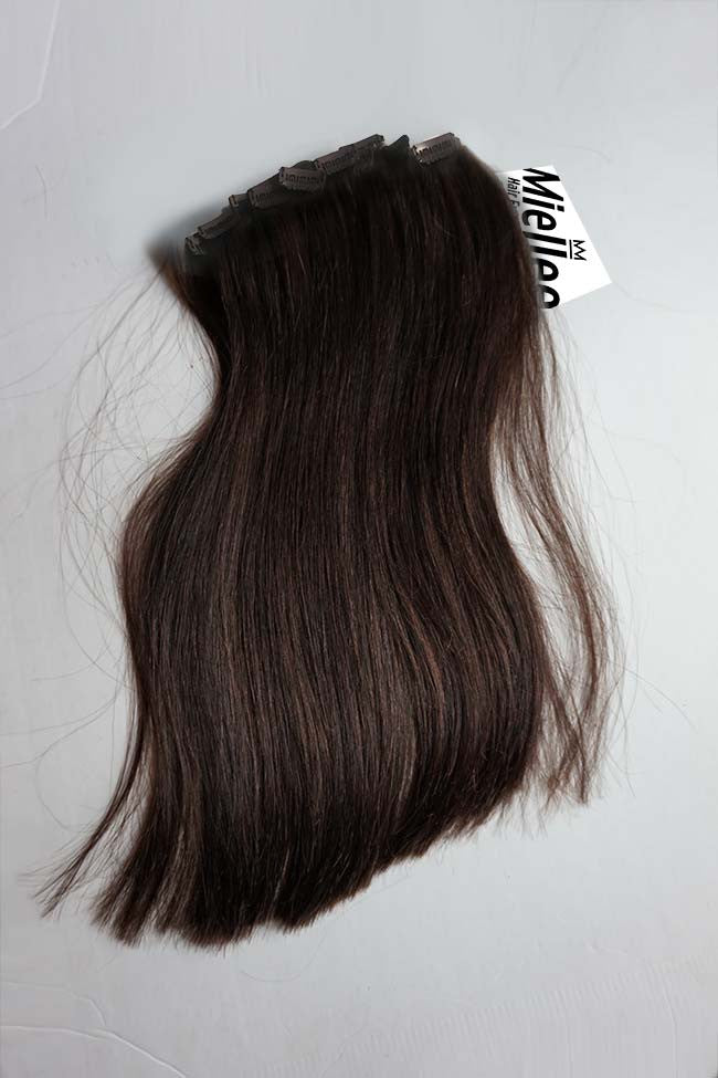 Virgin Brown Clip Ins - Silky Straight - Virgin Human Hair