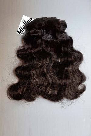 Virgin Brown Clip Ins - Beach Wave - Virgin Human Hair