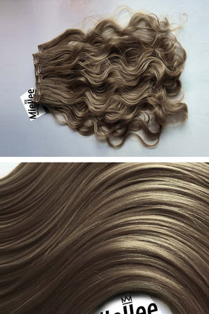Willow Brown Clip Ins - Beach Wave - Remy Human Hair