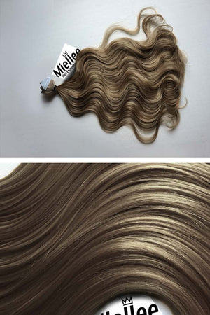 Willow Brown Tape Ins - Beach Wave - Remy Human Hair