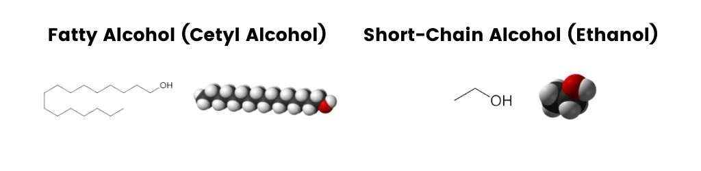 short chain alcohols are bad shampoo ingredients, long chain however are very good for hair.