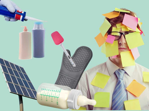 Examples of silicones in use, solar pannels, shampoo, conditioners, oven mitt, baby bottle nipple, post-it notes, spatula, silicone caulk