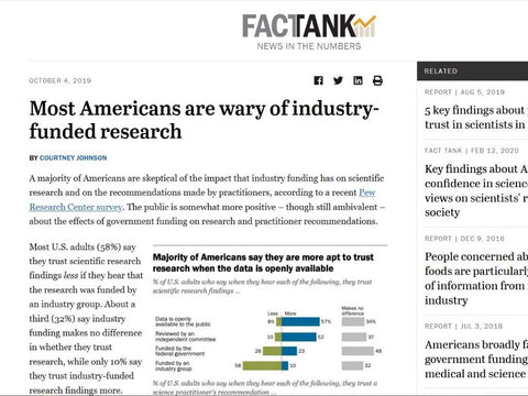 news article talking about how people mistrust industry funded studies