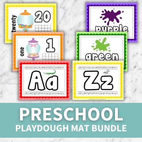layout of pages included in preschool playdough mat bundle