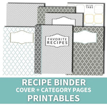 Load image into Gallery viewer, Recipe Binder Cover + Category Pages (printable)