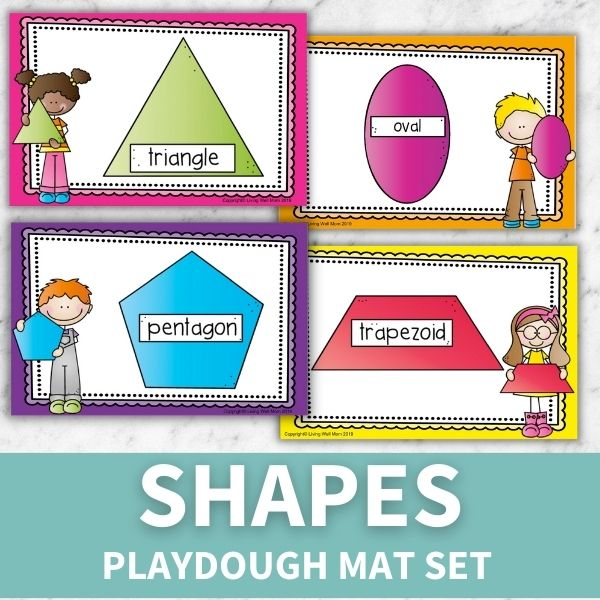 layout of printables included in playdough mats shape set