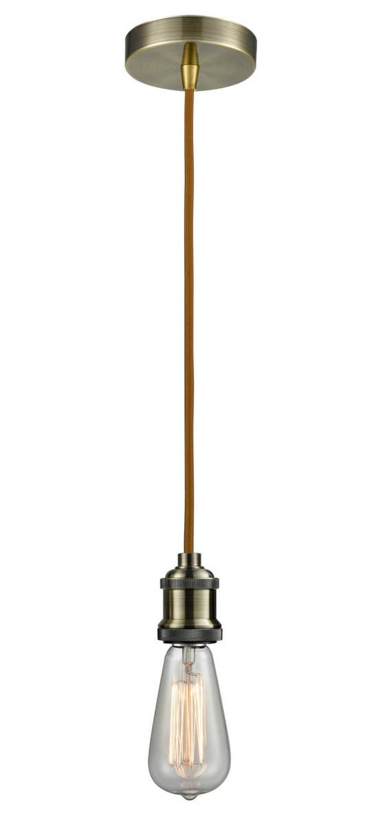 Antique Brass Bare Bulb 1 Light 2.75 inch Mini Pendant - No Shade - Vintage Dimmable Bulb Included