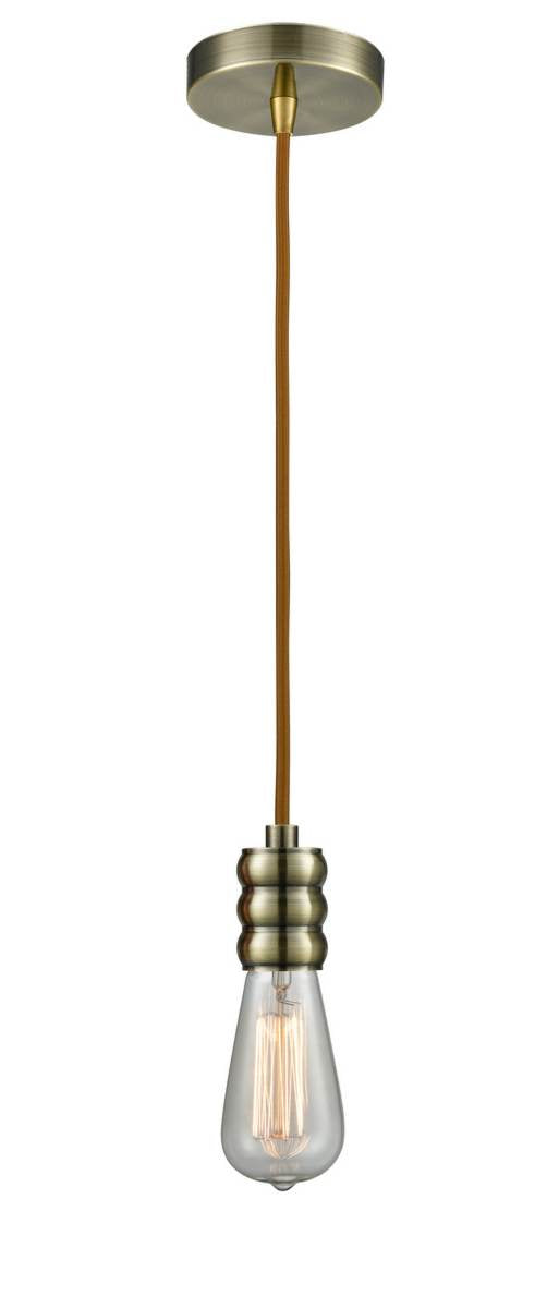 Antique Brass Bare Bulb 1 Light 3 inch Mini Pendant - No Shade - Vintage Dimmable Bulb Included