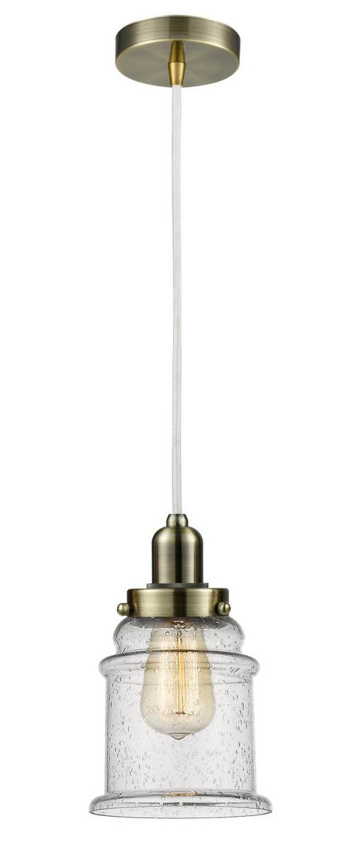 Antique Brass Canton 1 Light 11.25 inch Mini Pendant - Seedy Canton Glass - Vintage Dimmable Bulb Included