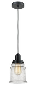 Matte Black Canton 1 Light 11.25 inch Mini Pendant - Seedy Canton Glass - Vintage Dimmable Bulb Included