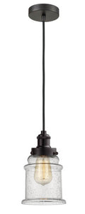 Oil Rubbed Bronze Canton 1 Light 11.25 inch Mini Pendant - Seedy Canton Glass - Vintage Dimmable Bulb Included