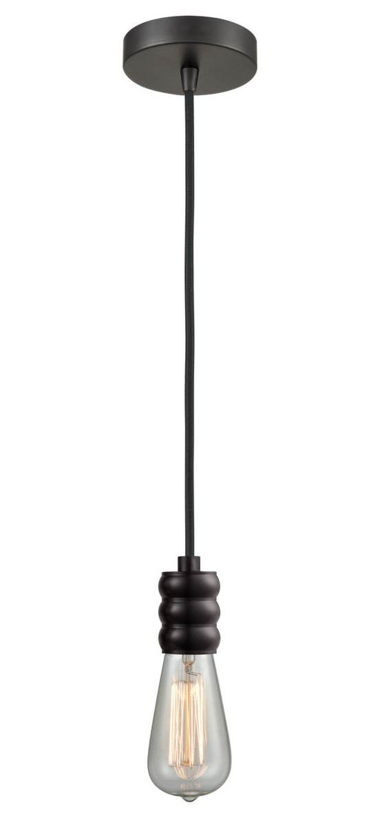 Oil Rubbed Bronze Bare Bulb 1 Light 3 inch Mini Pendant - No Shade - Vintage Dimmable Bulb Included