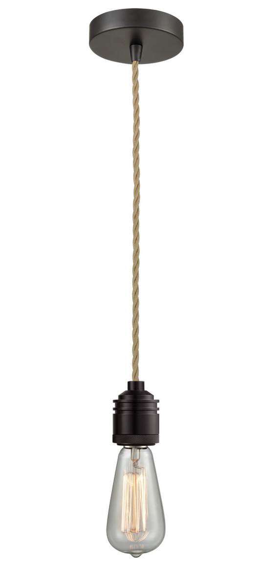 Oil Rubbed Bronze Bare Bulb 1 Light 2.75 inch Mini Pendant - No Shade - Vintage Dimmable Bulb Included