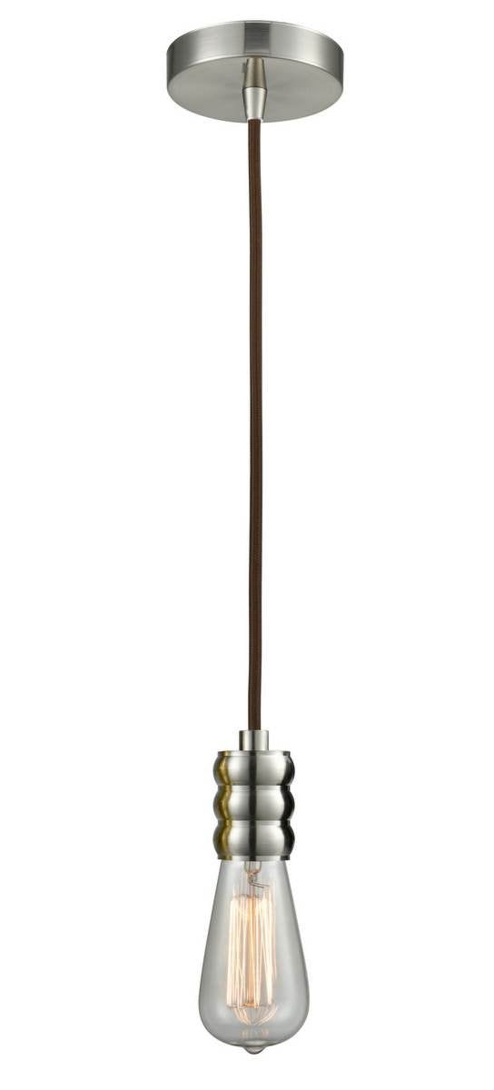 Satin Nickel Bare Bulb 1 Light 3 inch Mini Pendant - No Shade - Vintage Dimmable Bulb Included