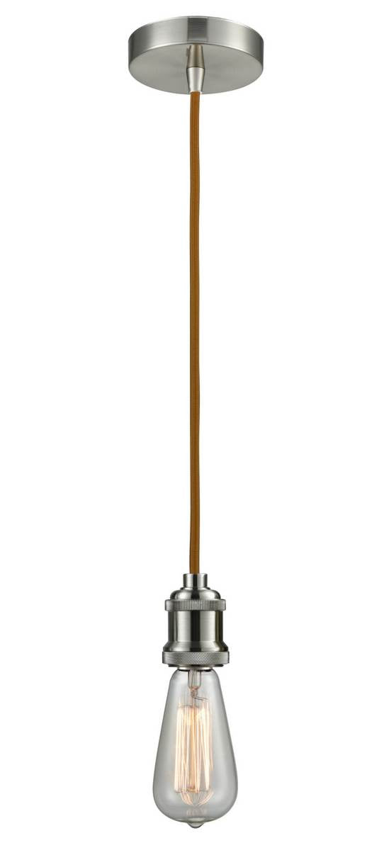 Satin Nickel Bare Bulb 1 Light 2.75 inch Mini Pendant - No Shade - Vintage Dimmable Bulb Included