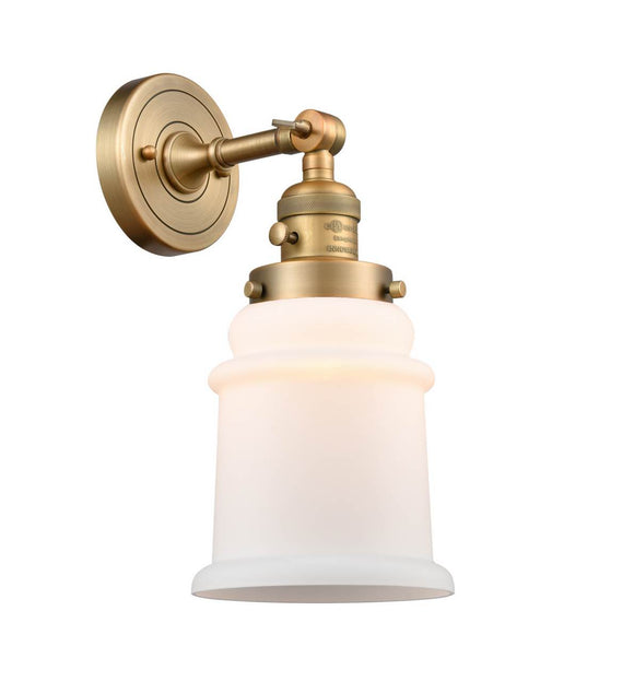 Brushed Brass Canton 1 Light Sconce  - Matte White Canton Glass - Vintage Dimmable Bulb Included