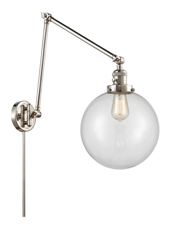 Polished Nickel Beacon 1 Light 10 inch Swing Arm - Clear Beacon Glass - Vintage Dimmable Bulb Included
