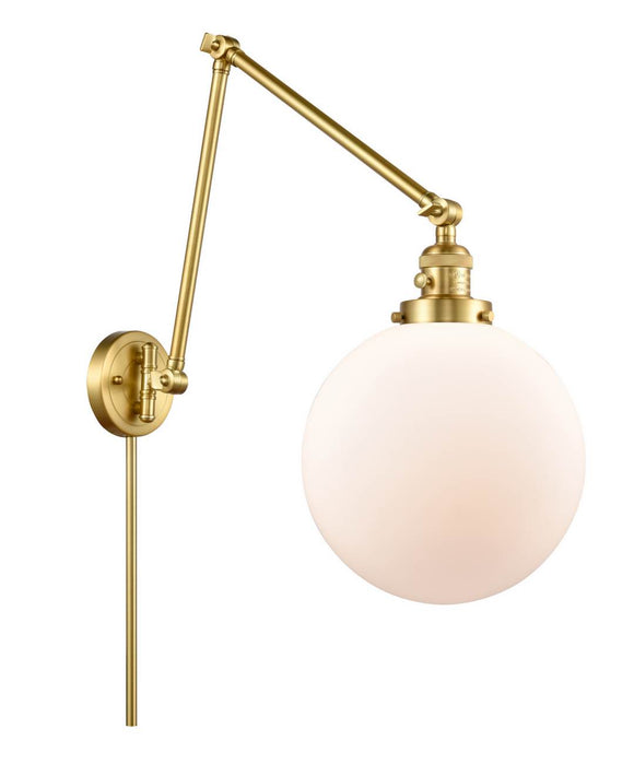 Satin Gold Beacon 1 Light 10 inch Swing Arm - Matte White Cased Beacon Glass - Vintage Dimmable Bulb Included