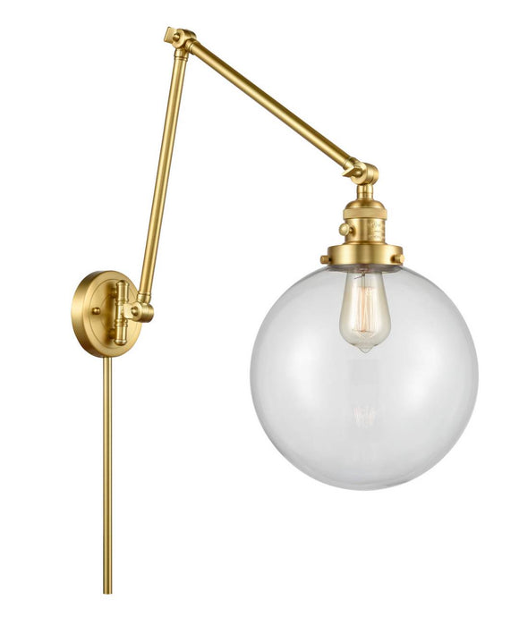 Satin Gold Beacon 1 Light 10 inch Swing Arm - Clear Beacon Glass - Vintage Dimmable Bulb Included