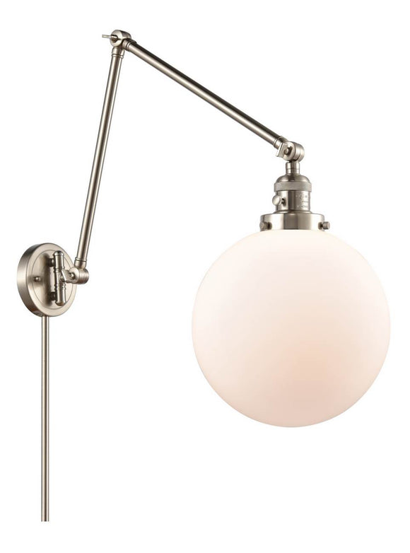 Brushed Satin Nickel Beacon 1 Light 10 inch Swing Arm - Matte White Cased Beacon Glass - Vintage Dimmable Bulb Included