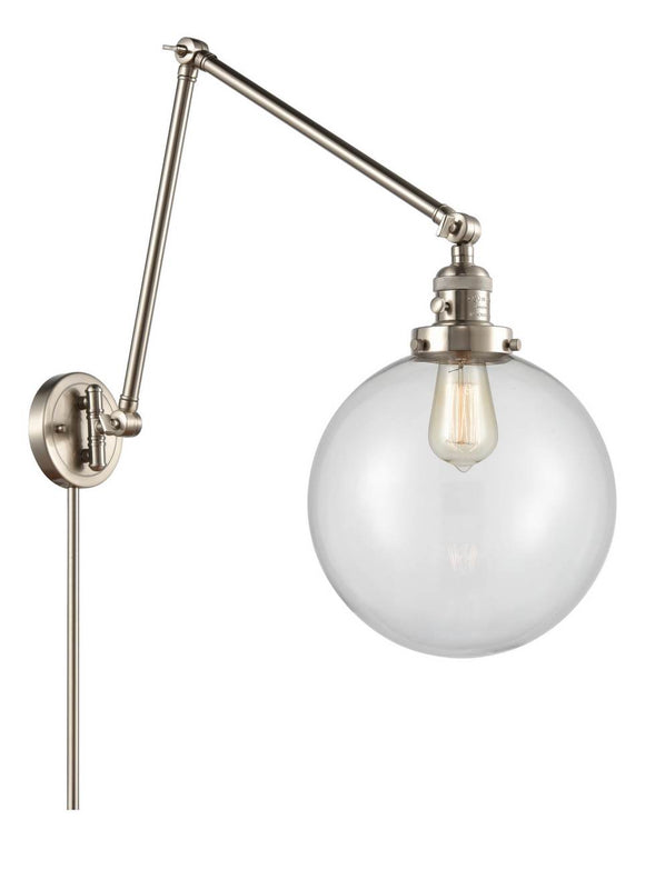 Brushed Satin Nickel Beacon 1 Light 10 inch Swing Arm - Clear Beacon Glass - Vintage Dimmable Bulb Included