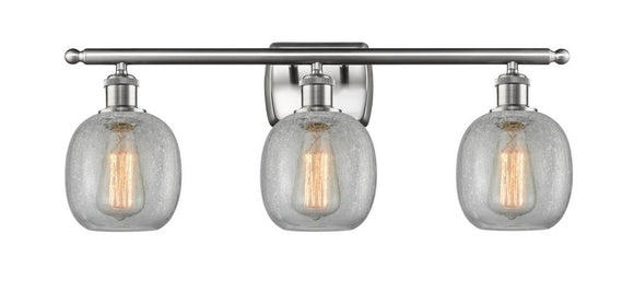 Innovations Lighting 516-3W-SN-G105 Brushed Satin Nickel Belfast 3 Light Bath Vanity Light Clear Crackle Belfast Glass Vintage Dimmable Bulbs Included