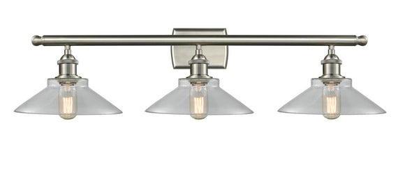 Innovations Lighting 516-3W-SN-G132 Brushed Satin Nickel Orwell 3 Light Bath Vanity Light Clear Orwell Glass Vintage Dimmable Bulbs Included