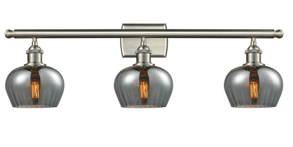 Innovations Lighting 516-3W-SN-G93 Brushed Satin Nickel Fenton 3 Light Bath Vanity Light Plated Smoke Fenton Glass Vintage Dimmable Bulbs Included