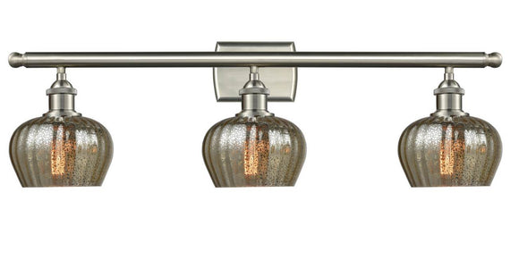 Innovations Lighting 516-3W-SN-G96 Brushed Satin Nickel Fenton 3 Light Bath Vanity Light Mercury Fenton Glass Vintage Dimmable Bulbs Included