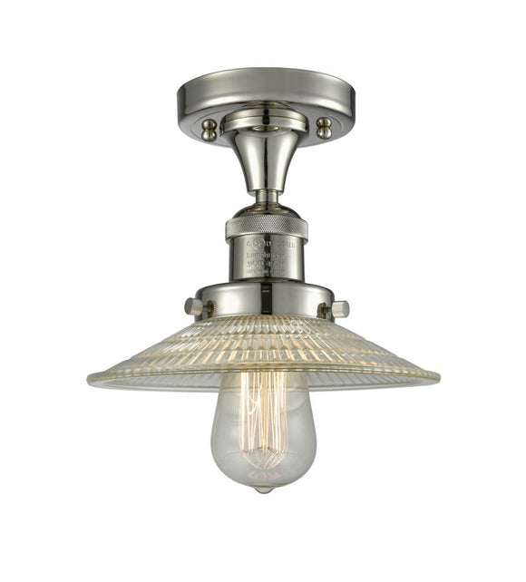 Innovations Lighting 517-1CH-PN-G2 Polished Nickel Halophane 1 Light Semi-Flush Mount Clear Halophane Glass Vintage Dimmable Bulbs Included