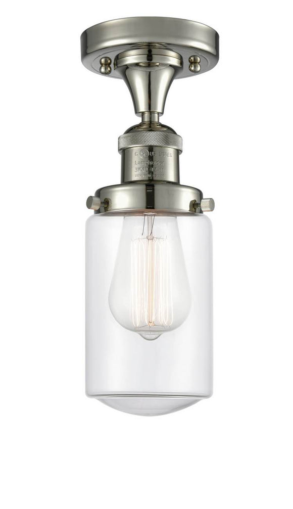 Innovations Lighting 517-1CH-PN-G312 Polished Nickel Dover 1 Light Semi-Flush Mount Clear Dover Glass Vintage Dimmable Bulbs Included