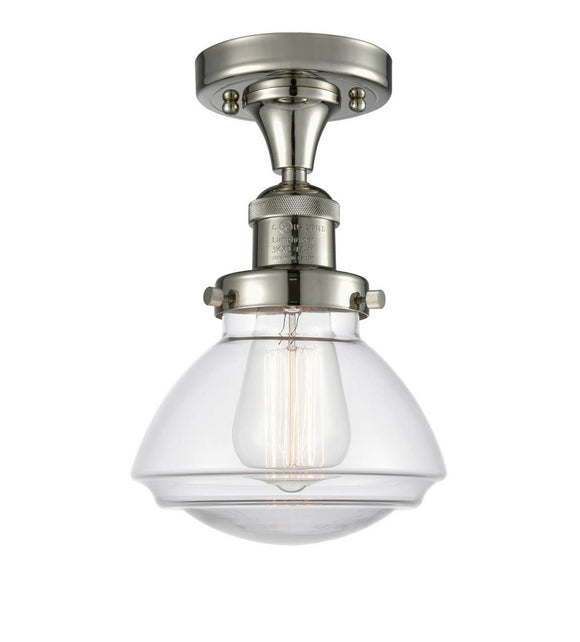 Innovations Lighting 517-1CH-PN-G322 Polished Nickel Olean 1 Light Semi-Flush Mount Clear Olean Glass Vintage Dimmable Bulbs Included